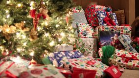 Pile of christmas ornaments stock video footage