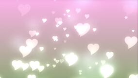 Pink hearts floating upwards on a light pink background. Video of pink hearts floating upwards on a light pink background stock video