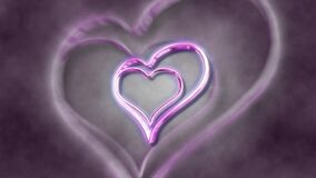 Pink hearts rotating and a blurry background. Video of Pink hearts rotating and a blurry background stock footage