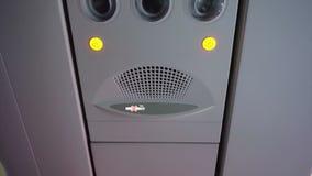 Video Plane interior. Passenger signage over head stock video