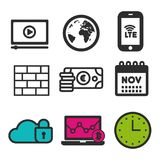 Video play icon. Laptop statistics symbol. Cloud security icon. Firewall sign. Clock and Calendar icons. Eps10 Vector Royalty Free Stock Photography