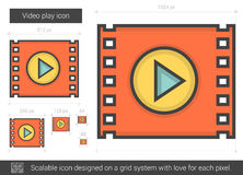 Video play line icon. Royalty Free Stock Images
