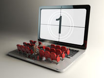 Free Video Player Application Or Home Cinema Concept. Laptop And Row Stock Photo - 71038450