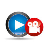 Video player button film camera icon graphic Royalty Free Stock Photos