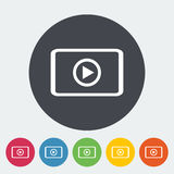 Video player flat icon. Video player. Single flat icon on the circle. Vector illustration Royalty Free Stock Images