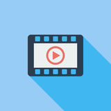 Video player flat icon. Video player icon. Flat vector related icon with long shadow for web and mobile applications. It can be used as - logo, pictogram, icon Stock Photos