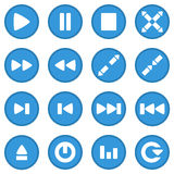 Video player icon set blue Stock Images