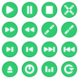 Video player icon set green Royalty Free Stock Photography