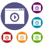 Video player icons set Royalty Free Stock Photography