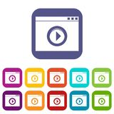 Video player icons set Stock Photography