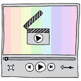 Video Player. Illustration of hand drawn video player with rainbow background Royalty Free Stock Photography