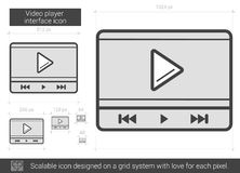 Video player interface line icon. Video player interface vector line icon isolated on white background. Video player interface line icon for infographic Stock Photos