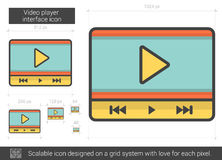 Video player interface line icon. Video player interface vector line icon isolated on white background. Video player interface line icon for infographic Royalty Free Stock Photography
