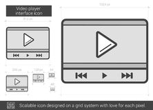 Video player interface line icon. Video player interface vector line icon isolated on white background. Video player interface line icon for infographic Stock Photography