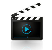 Video player on movie clapper vector Stock Photos