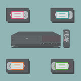 Video player with remote control and 4 video tapes Royalty Free Stock Images