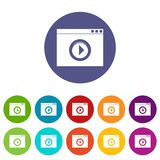 Video player set icons Royalty Free Stock Photo