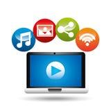 Video player social media icons design. Vector illustration eps 10 Royalty Free Stock Photos