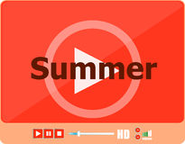 Video player for web with word summer on it, holiday or technology card Royalty Free Stock Image