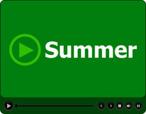 Video player for web with word summer on it, holiday or technology card. Holiday concept Stock Images
