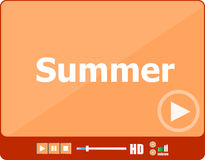 Video player for web with word summer on it, holiday or technology card Stock Photo