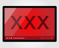 Video player for web, XXX Adult. Vector eps 10. Video player for web, XXX Adult Royalty Free Stock Photography