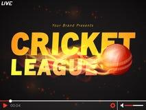 Video Player window for Cricket League concept. Live Cricket telecast video player with glossy fiery ball for Cricket Sports concept Stock Photos