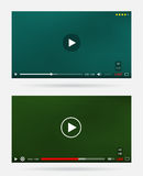 Video Player Window with Menu and Buttons Panel Vector Set Stock Photography