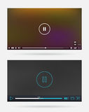 Video Player Window with Menu and Buttons Panel Vector Set Royalty Free Stock Images