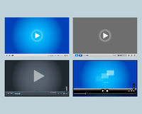 4 video players, media player designs for web and mobile apps. Vector illustrations. Royalty Free Stock Image