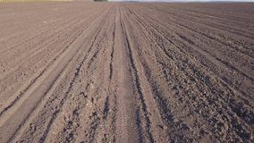 Video of the plowed field of the earth stock video