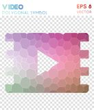 Video polygonal symbol. Bizarre mosaic style symbol. dazzling low poly style. Modern design. video icon for infographics or presentation Royalty Free Stock Photography