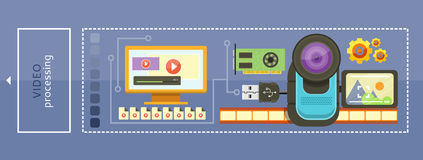 Video Processing Concept. Video camera with cinema tape on background and memory card cartoon flat design. Monitor with media player and video files. Video Royalty Free Stock Photos