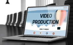 Video Production Concept on Laptop Screen. 3D. Video Production on Landing Page of Mobile Computer Display in Modern Conference Room Closeup View. Blurred Image Royalty Free Stock Photo