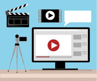 Video production Editor Desk Workplace Web Banner Flat Vector Illustration. Stock Images
