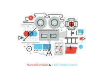 Video production flat line illustration Royalty Free Stock Photography