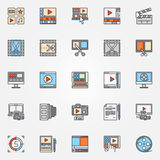 Video production icons set. Vector collection of flat video edit symbols. Video editing colorful signs Royalty Free Stock Photo
