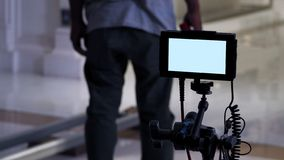 Video production monitor in tv commercial shooting stock image