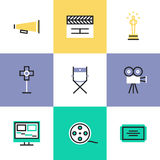 Video production pictogram icons set. Flat line icons of video production and media post-production, award winning film making, movie director tools and objects Royalty Free Stock Images