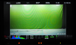 Video production recording monitor. Video production recording monitor that have a green screen in studio and showed all shooting setup Royalty Free Stock Photography