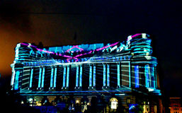 Video projection on the Cercul Militar National, Bucharest, Roma Royalty Free Stock Photography