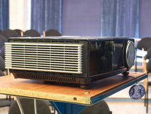 Video projector in the room. Video projector in a conference hall stock photo