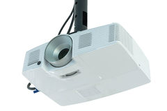 Video projector. For work presentation or home cinema entertainment hanging on wall isolated on white royalty free stock photos