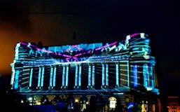 Video projektion på den Cercul Militar medborgaren, Bucharest, Roma Royaltyfri Fotografi