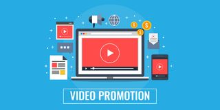 Video promotion, marketing, advertising, gone viral concept. Flat design marketing banner. Video displaying on a laptop screen, digital media marketing strategy Royalty Free Stock Image