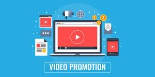 Video promotion, marketing, advertising, gone viral concept. Flat design marketing banner. Video displaying on a laptop screen, digital media marketing strategy Stock Illustration