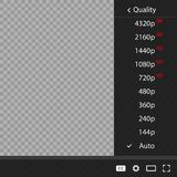 Video quality or movie. Set quality 144 before 8K. Vector illustration on a transparent background stock illustration