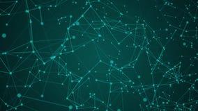 Video rörande bakgrund för abstrakta gröna plexuspartiklar med sken på bakgrund lager videofilmer