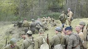 Video reconstruction of battle of 1941 World war 2 between Nazi troops and cadets of the Podolsk military College. Video reconstruction of battle of 1941 World stock video