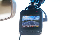 Video recorder in the car. Video recorder inside the car Stock Photo